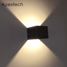 Apextech LED Stair Wall Lamp COB Aluminum Square Corridor Lights Holtel Bedside Night Light RGB Remote Control Decor