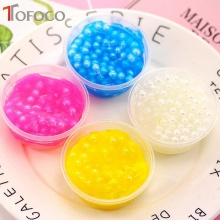 TOFOCO Foam Clear Fluffy Slime DIY Crystal Lizun Dough Anti Stress Sludge Toy Cotton Mud Plasticine Modeling Clay for Kids Gift