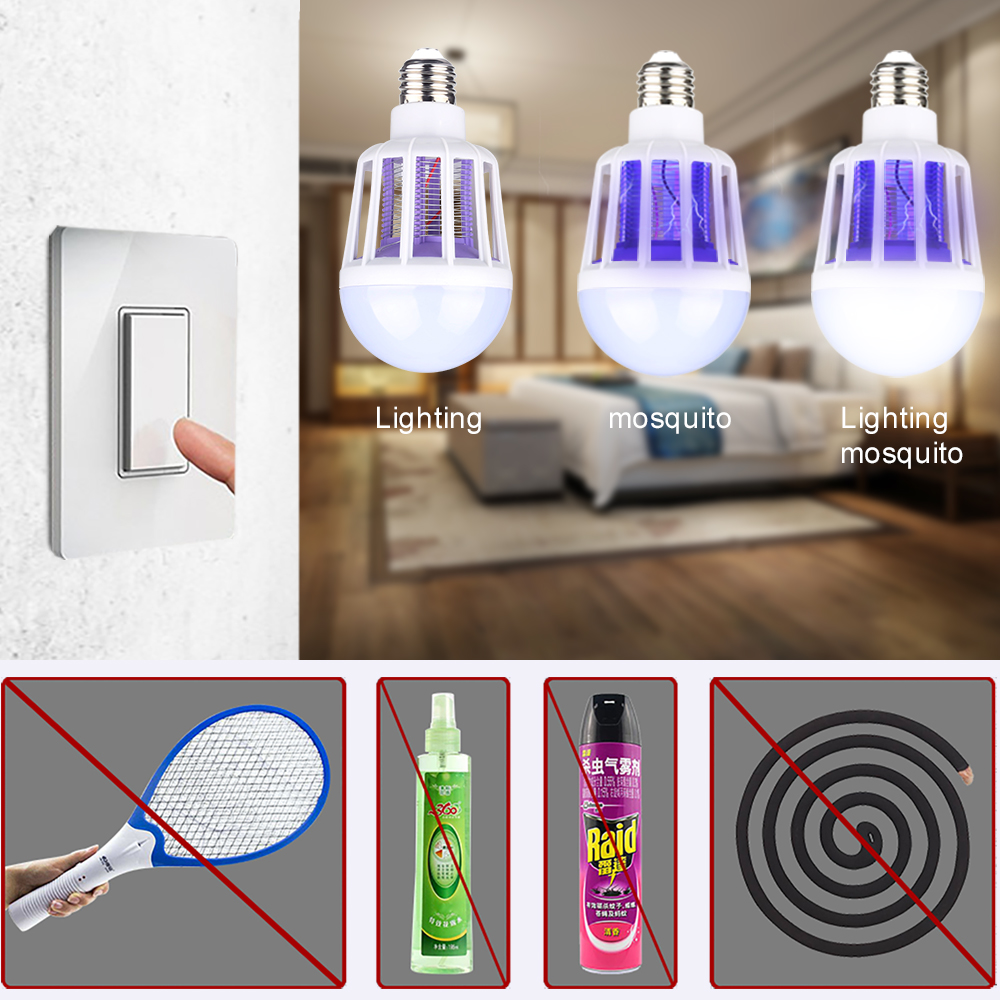 AC175~220V LED Mosquito Killer Bulb E27/B22 Insect Anti Mosquito Repeller Light For Home Lighting Bug Zapper Trap Lamp