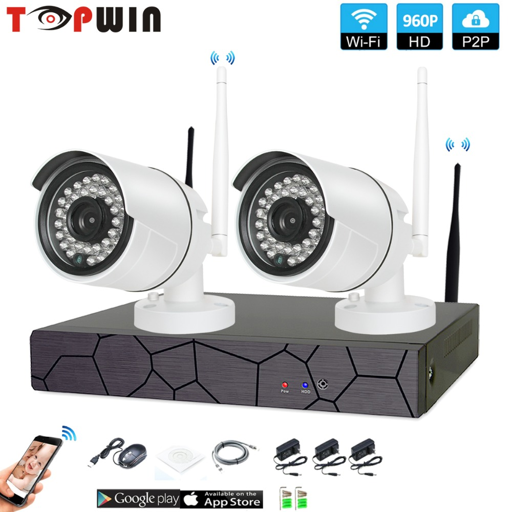 2CH 1080P HD Wireless NVR Kit P2P 960P Indoor Outdoor IR Night Vision Security 1.3MP IP Camera WIFI CCTV System