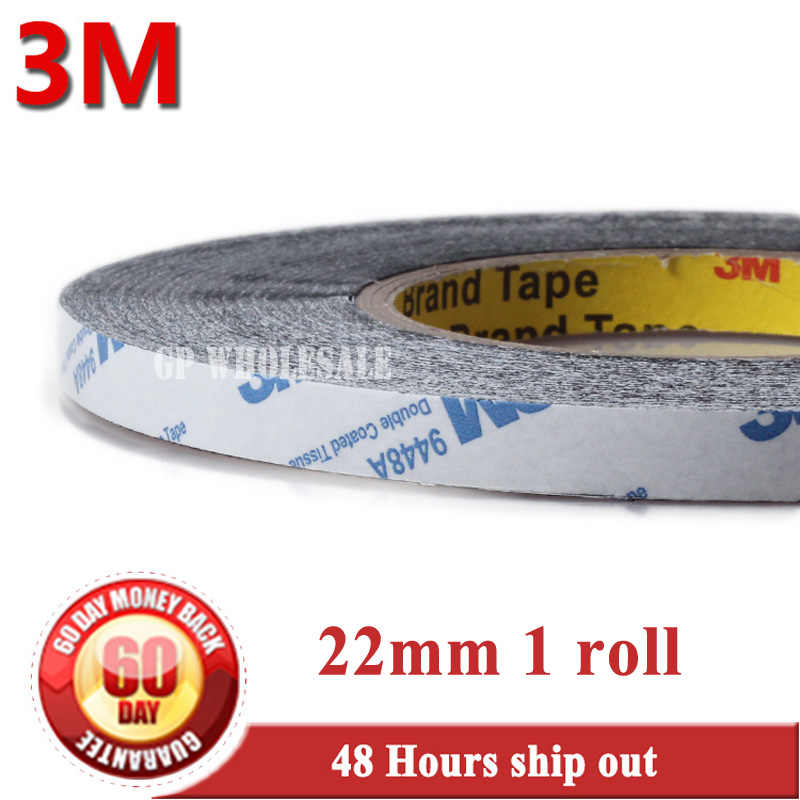 22mm* 50 meters 3M BLACK 9448 Double Sided Adhesive Tape Sticky for LCD /Screen /Touch Dispaly /Housing /LED #953 1x 76mm 50m 3m 9448 black two sided tape for cellphone phone lcd touch panel dispaly screen housing repair