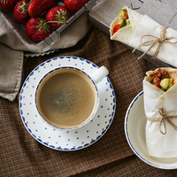Brand High Quality Ceramic Dinner Plates Bone China On Glazed Retro Floral Printed Round Simple Brief