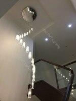 LED Villa Spiral K9 Crystal Pendant Lamps Living Room Hanging Lighting Modern Simple LED Villa Crystal