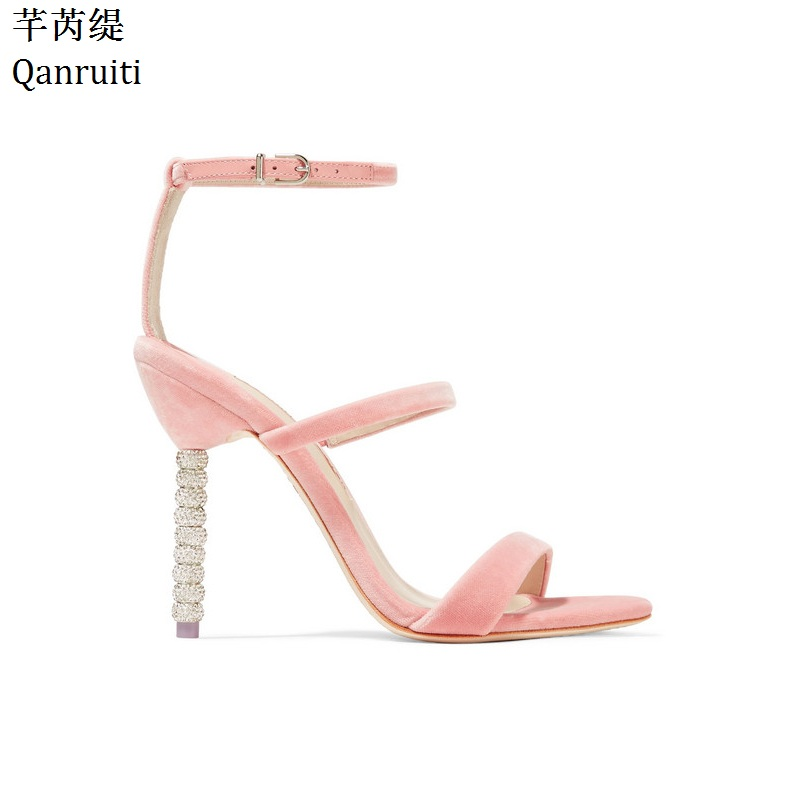 Qianruiti Pink Gold Silver High Heels Women Gladiator Sandals Ankle Strap  Cut-Outs Party Shoes Studded Crystal Heels Women Pumps 18922314ae94
