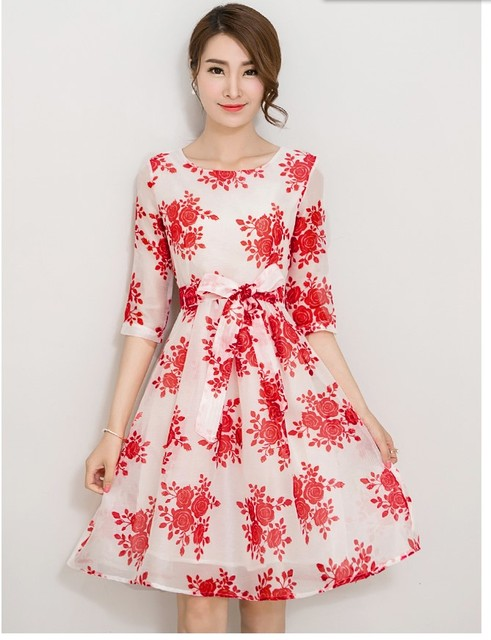 2158fa2916dc 2016 New women s fashion Korean design printing dresses girls casual ...