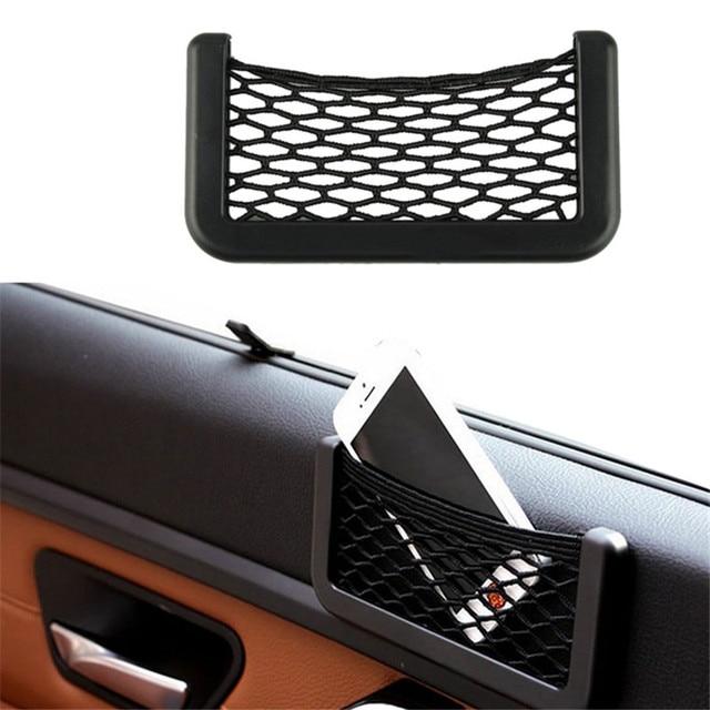 15X8cm Automotive Bag With Adhesive Visor Car Net Organizer Pockets Net Convenient cell phone Bag For Car