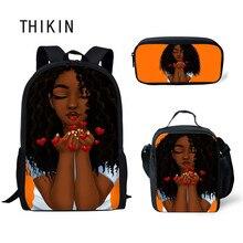 THIKIN Back To School Black Art African Girl Culture Bags for Kids 3pcs/set Schoolbag Children Shoulder Book Bag Softback