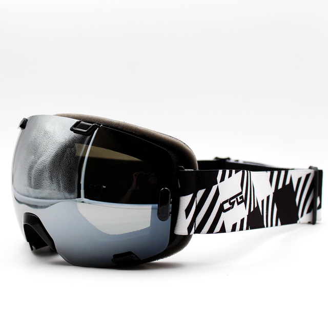 83b9e7d0c9f Silver Lens Black Frame Brand New Ski Goggles UV400 Anti-Fog Eyewear Mask  Glasses Skiing Men Women Snow Snowboard Goggles