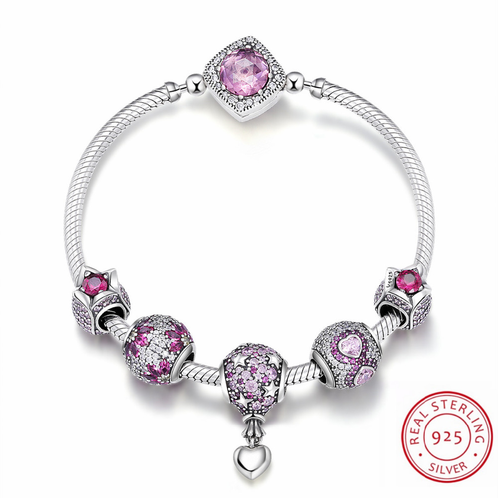 100% Genuine Sterling Charms Beads Bracelet Pink Stone Paved Cubic Zirconia High Quality Fit Women Jewelry Accessories Gift цена