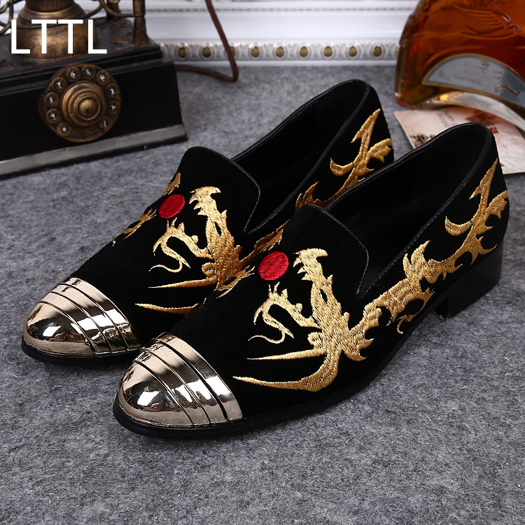 Fashion LTTL Chinese style Suede Mens Loafers Gold Embroidery Male Loafers Outdoor Causal Flats Slip On Party Wedding Shoes Men