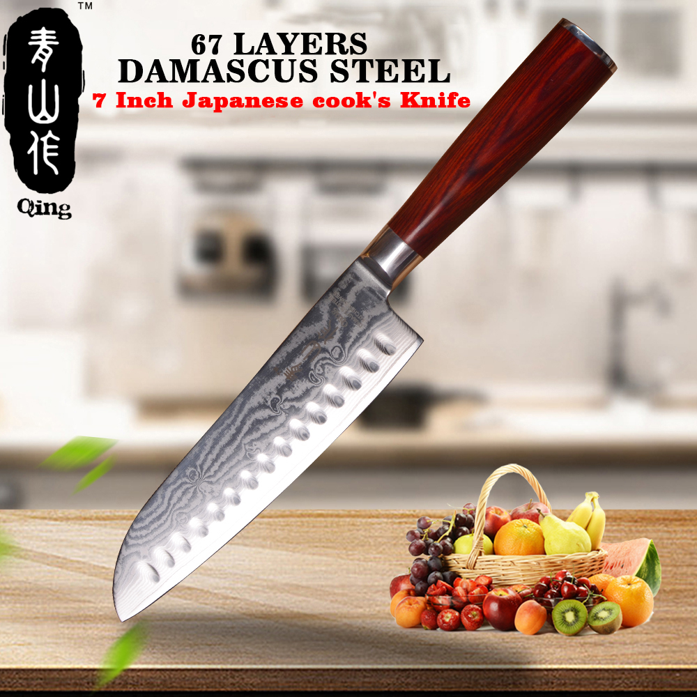 QING 7 inch Damascus Knife Professional Japanese Cook s Knife High Grade Stantoku Knife Durable Cooking