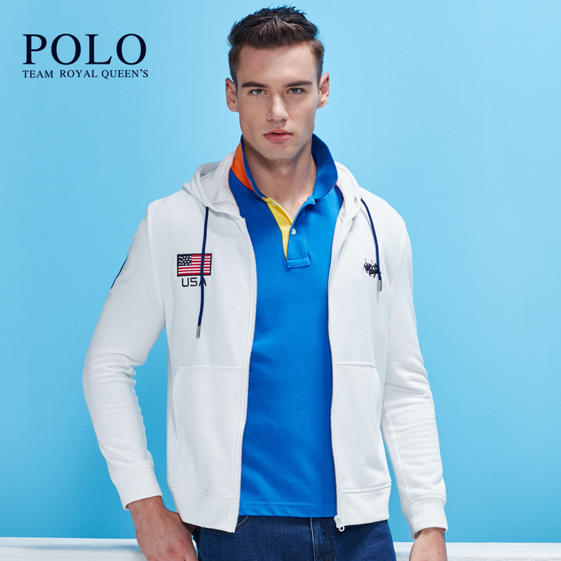 Royal Queen's Polo Team brand 2017 men spring autumn new Fashion Hooded men's casual jackets collar jacket men male jackets