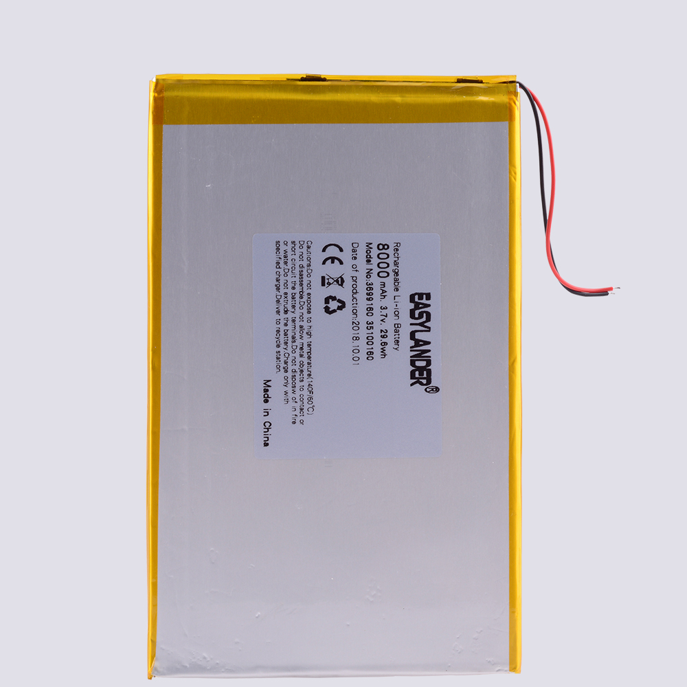 Large Capacity 3.7 V Tablet Battery 8000mAh Each Brand Tablet Universal Rechargeable Lithium Batteries 35100160 3699160 30100160