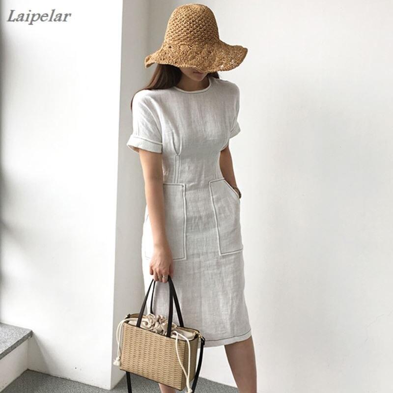 Women Summer Elegant High Waist Pocket Cotton Linen Dress Female Bodycon White Vestido Robe Femme Ete Vintage Jurken Zomer Jurk in Dresses from Women 39 s Clothing