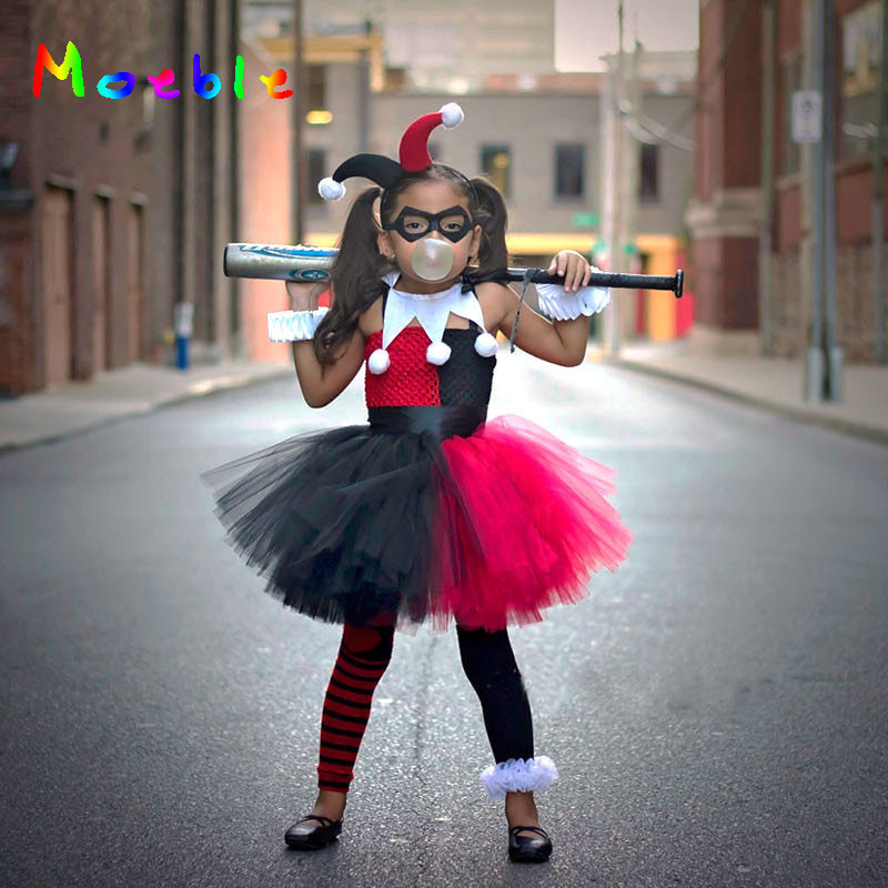 Harley Quinn Children Cosplay Costume Girls Tutu Dress with Headband Kids Party Dresses for Birthday Halloween Christmas Summer summer kids girl tutu dress wonder woman halloween costume birthday dresses for party cosplay superman costume baby party frocks