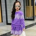 Дети Девушки комплект одежды зима девочки-подростки спортивный костюм свитер юбка 2 шт. школа детская одежда спортивный костюм 4 ~ 13 Т одежда для девочек