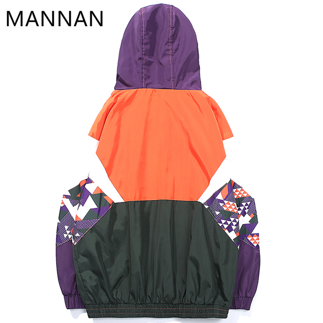 Harajuku Color Block  Hooded Windbreaker Embroidery Men Hip Hop  Coat Streetwear Half Zip Track   Harajuku