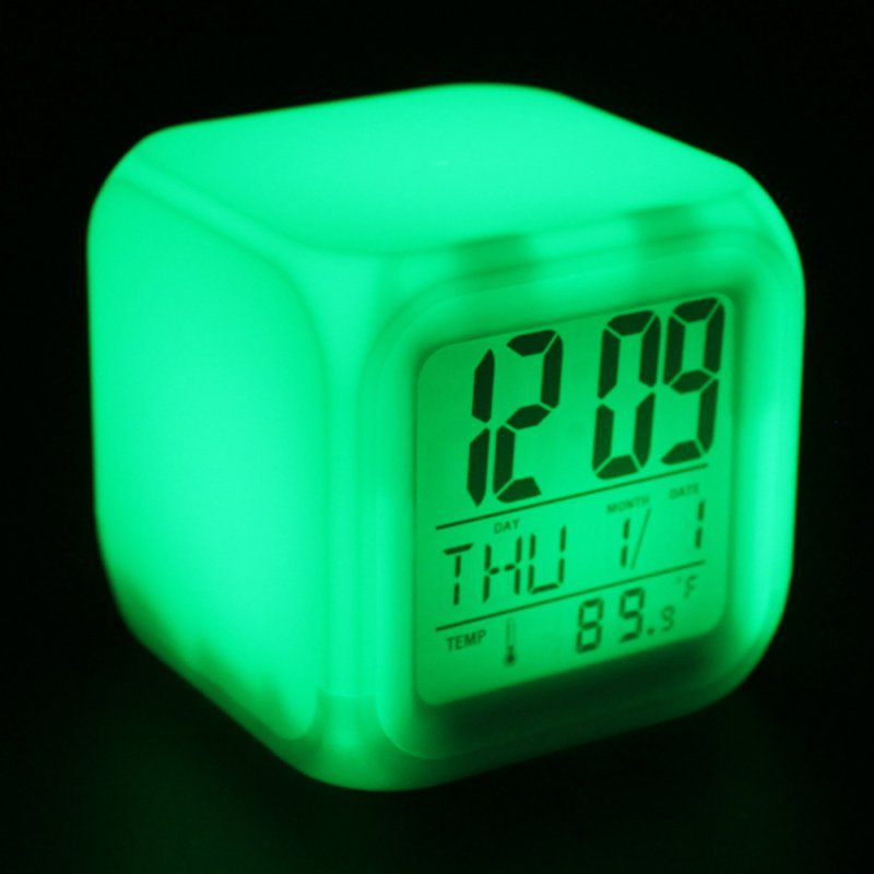 Home Decor Hot Sale New Cube Digital Led Clock Colors Change Alarm Date Time Thermometer Lot Colors