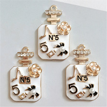 MRHUANG 4pcs/pack Big Size Perfume  Enamel Charms Gold color 41*24mm pendants jewelry making Handmade craft