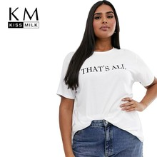 Kissmilk 2019 New Fashion Plus Size Print Letter Tops Simple Witty Tees White Crew Neck Regular Fit Curve T-shirt
