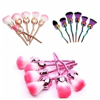 6 Adet Yumuşak Gül Çiçek Şekli Makyaj Fırçalar Setleri Güç Vakıf Allık Kontur Karıştırma Fırçası Yüz makyaj Fırçalar Kozmetik aracı