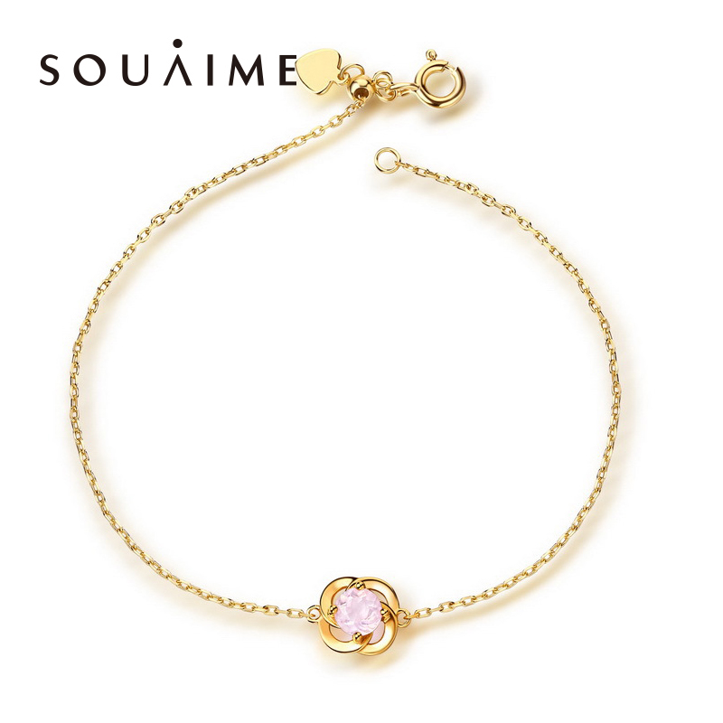 SOUAIME Topaz Powder Crystal Garnet Silver Bracelet 14K Gold  For Women Fashion Lady Festival Gift Sterling-silver-jewelry