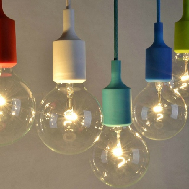 DIY E27 Chandelier light Fixture Hanging Line Colorful Silicone ...
