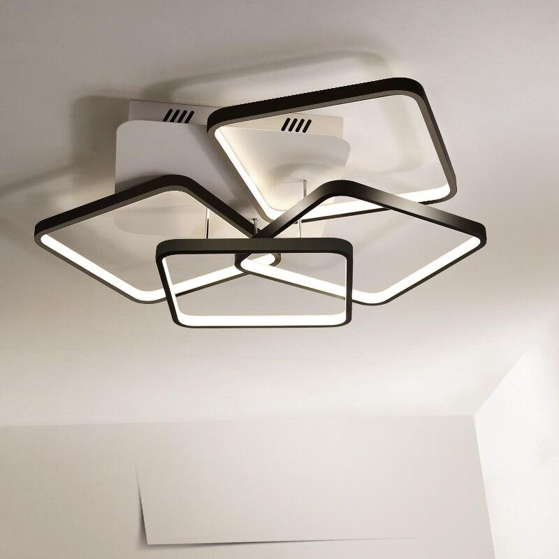 New Black/White Aluminum Modern Led Chandelier For Living Room Bedroom Study Room AC85-265V Ceiling Chandelier lustre Fixtures