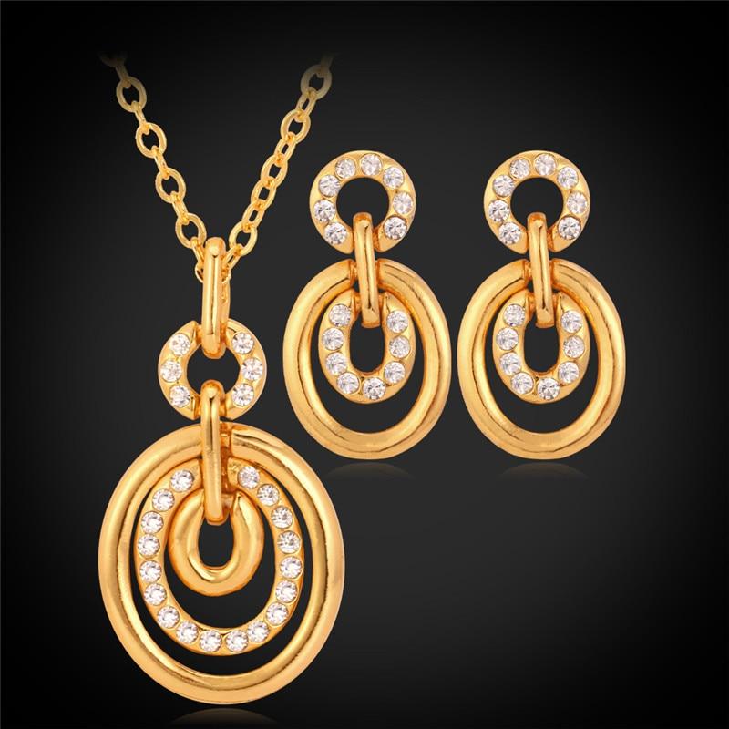 c4954129db88 Oro amarillo de color austriaco rhinestone COLLAR COLGANTE Pendientes  gargantilla collar joyería Set para mujeres joyería MGC pe646