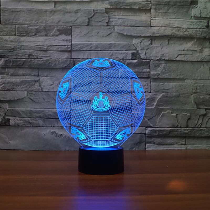 3D Football Shape NightLight LED 7 Colors Changing Visual Sensor Desk Lamp USB Bedroom Bedside Futbol Lighting Decor Fans Gifts