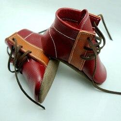 اليدوية جلد طبيعي الأحذية مختلط الألوان الأولى مشوا الطفل أحذية الدانتيل متابعة الطفل الأخفاف gils الصبي 12.5-15.5 سنتيمتر مجانية