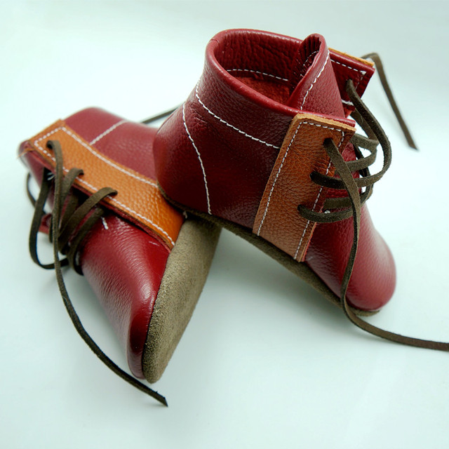 Handmade Couro Genuíno botas cores misturadas do bebê Primeiro Walkers lace-up mocassins bebê gils Sapatos menino 12.5-15.5 CM frete grátis