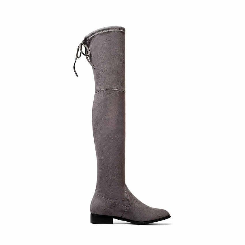 ESVEVA 2020 Über Die Knie Stiefel Platz Med Ferse Frauen Stiefel Sexy Damen Spitze Up Stretch Stoff Mode Stiefel schuhe größe 34-43