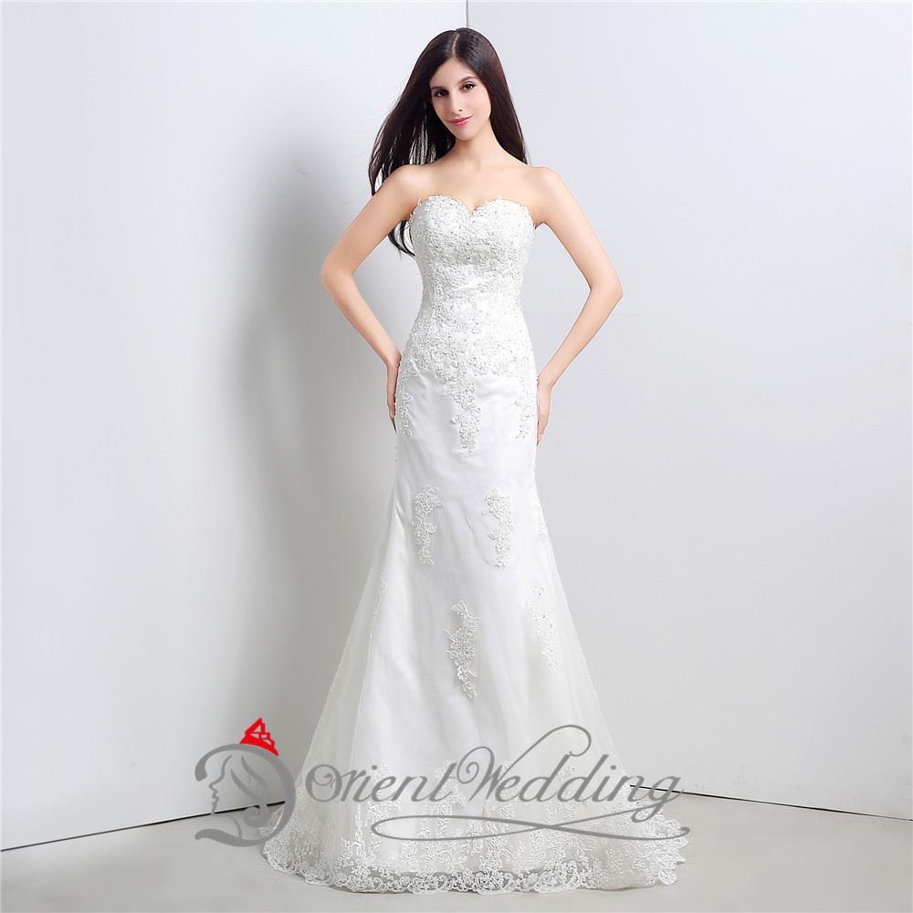Wedding Gown On Sale: Hot Sale Sweetheart Neckline In Stock Lace Appliqued