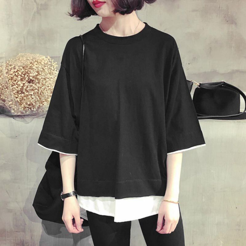 Women Casual Loose   Shirt   Tops Patchwork Fake Two Pieces   Blouses     Shirt