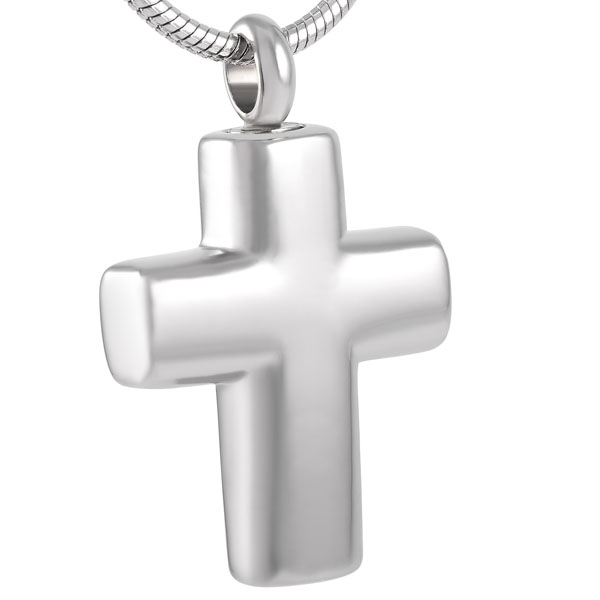 IJD8391 Stainless Steel Cross Memorial Urn Necklace For