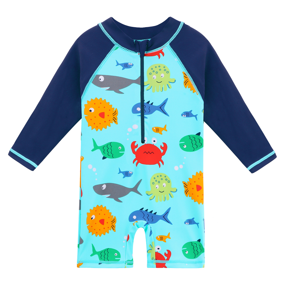 BAOHULU Lovely Cartoon Baby Rash Guards Long Sleeve Kids Swimwear For Boys Girls Toddler Baby Girl Swimsuit Beachwear Child