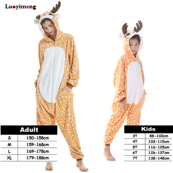 8b0cb4b67e Los niños adulto Cosplay ciervo de dibujos animados Pijamas trajes Kigurumi  Anime unicornio de franela Pijamas mono con capucha Pijamas de Mono para  mujer