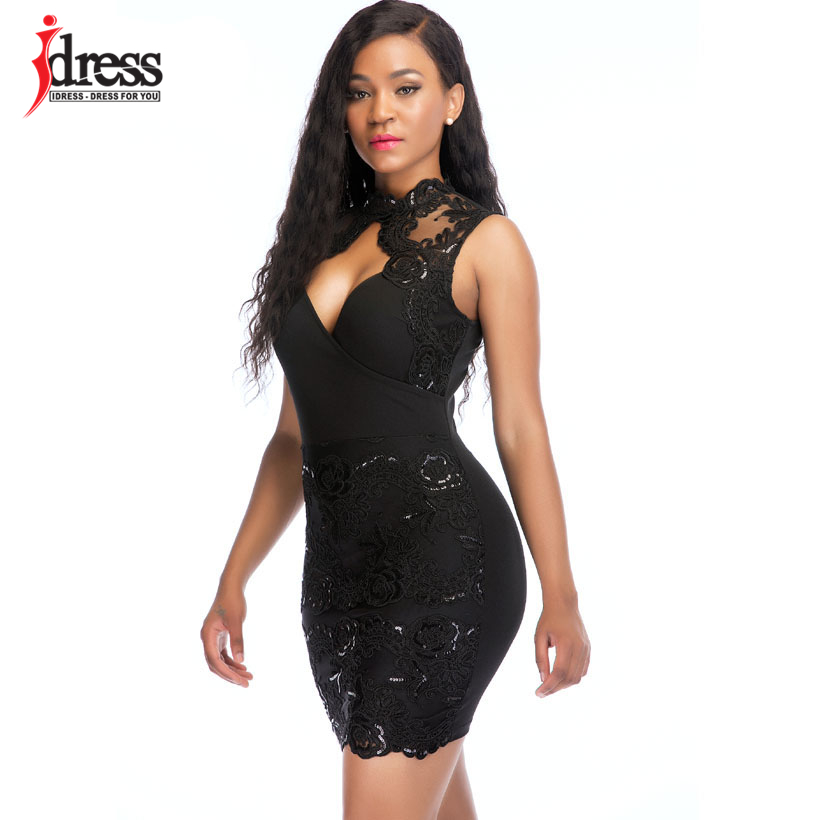 IDress 2018 Women Sexy Summer Bodycon Party Clubwear Mini Dresses Lace  Patchwork Sleeveless Sequined Pretty Blue Black Dresses a5109aa58958