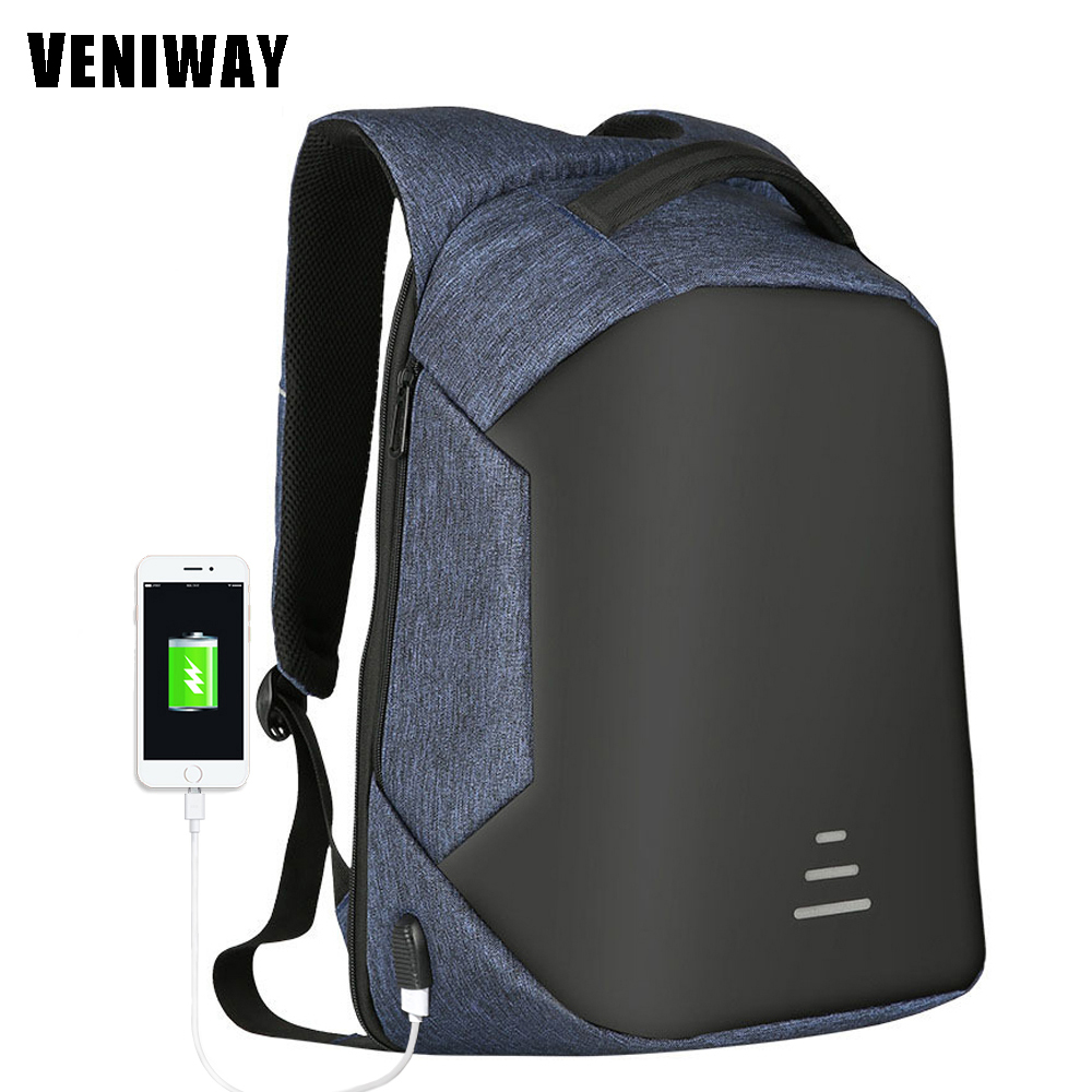 где купить VENIWAY XD Anti-theft Design Men 15' Laptop Backpack External USB School Rucksack Bag Large Capacity Urban Waterproof Mochila дешево