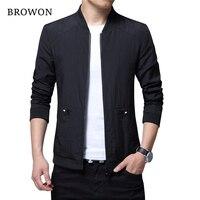 BROWON Brand Spring Autumn Fashion Bomber Jacket Men Baseball Jacket And Coats Stand Collar Black Jacket