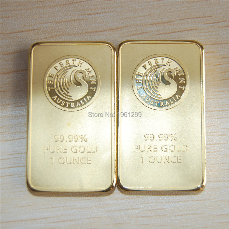 Us 135 0 Weight About 31gram 1 Oz Gold Bar Perth Mint Non Magnetic 50pcs Lot Dhl Free Shipping Replica Clad In Currency