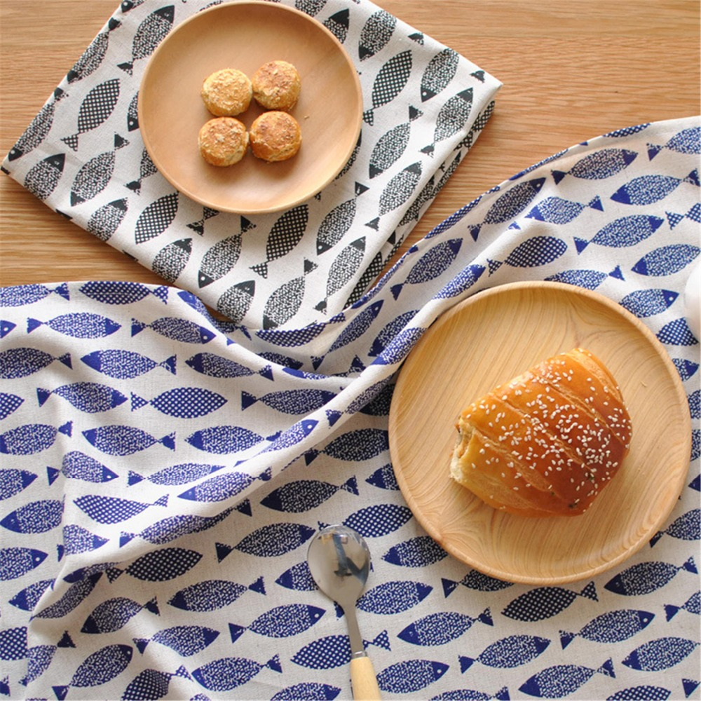 FUYA Fish Style Home Essential Cotton Deck Napkin Table Cloth Ethnic Style Roasted Tea Series Mat Pads