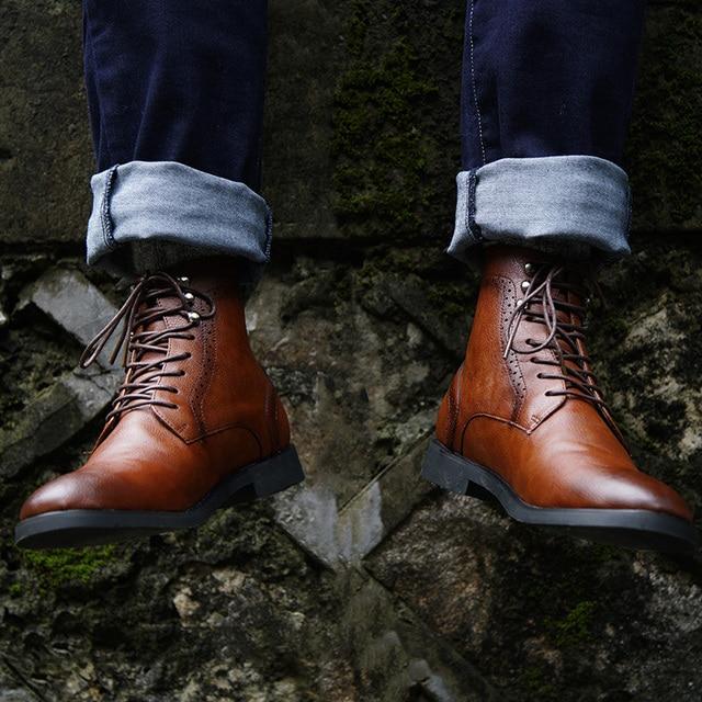 COSIDRAM Degli Uomini Dell'unità di elaborazione Stivali di Pelle Inverno Scarpe di Moda Uomo Lace Up Stivaletti Caldi Degli Uomini Rivetto Brithsh Scarpe 2018 BRM-053