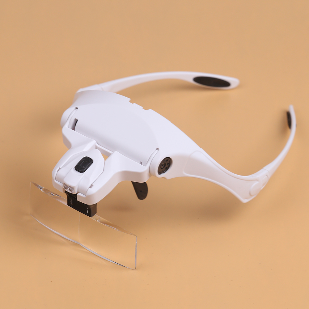 BIJIA 1.0X 1.5X .2.0X 2.5X 3.5X Eyewear Magnifier Interchangeable 5 Pcs Lenses Magnifying Glasses 2 LED for Repairing Makeup