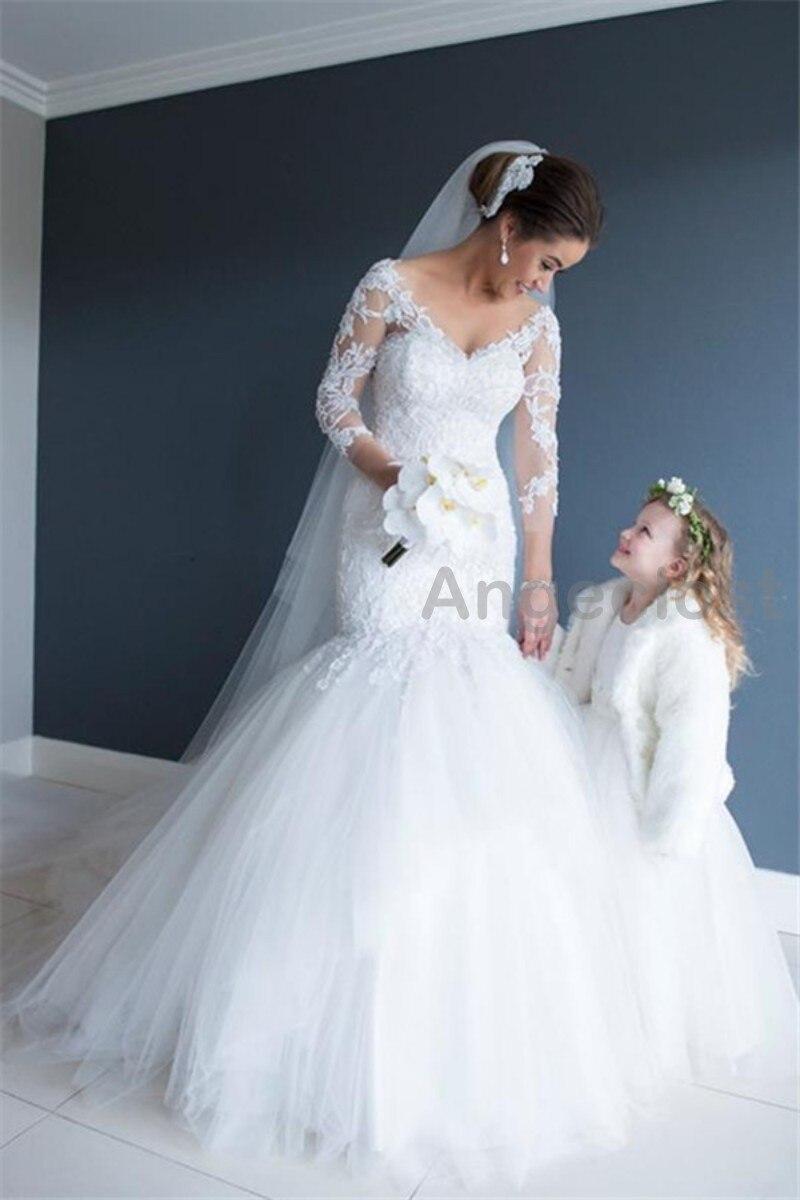 f560fede352 Cap Sleeve V Neck Mermaid Wedding Dress