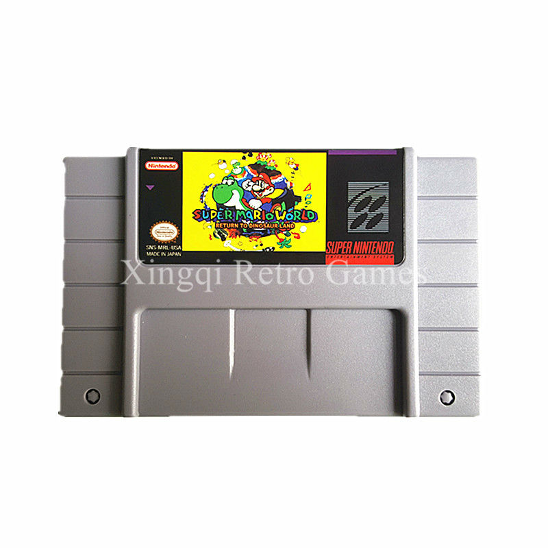 Super Nintendo SFC SNES Game Super Mario World Return to Dinosaur Land Video Game Cartridge Console