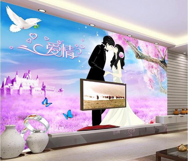 3d Wallpaper Custom Mural Non Woven Room Cartoon Lovers Love Romance Murals Painting