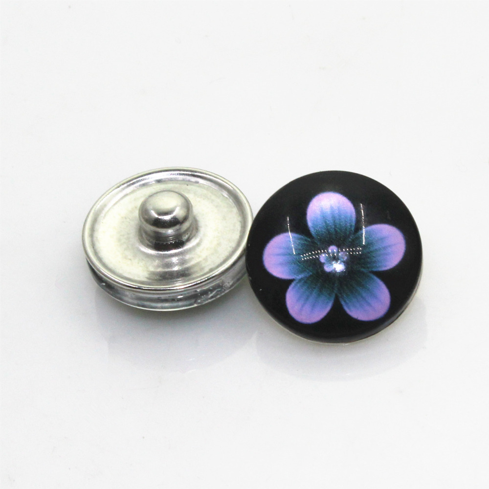 New Arrival 20pcs/lot Flower Style4 Snap Buttons For 18mm Ginger Snap Bracelet&Bangles DIY Glass Snap Button Jewelry Charms