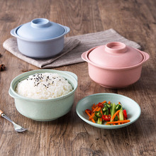 Household Creative Solid Japan Style Heat Proof Bowl Rice Soup Noodles Salad Bowl Eco-friendly Wheat Straw Bowl with Covers